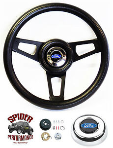 1970 1977 Ford F Series Steering Wheel Blue Oval 13 3 4 Black Spoke