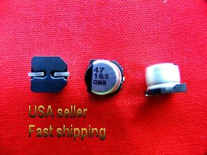 50 Pcs 47uf 16v Smd Panasonic Electrolytic Capacitors