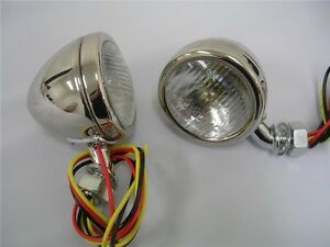 1933 1934 Ford Car Deluxe Stainless Cowl Lamps Lights W Turn Signals Glass Lens
