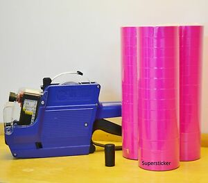 Mx 6600 10 Digits 2 Lines Price Tag Gun Labeler 1 Ink 42 Rolls Pink 500 Tags