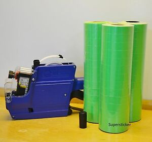 Mx 6600 10 Digits 2 Lines Price Tag Gun Labeler 1 Ink 42 Rolls Green 500 Tags