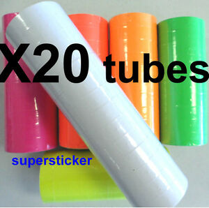 White Price Tags For Mx 6600 2 Lines Gun 20 Tubes X 14 Rolls X 500