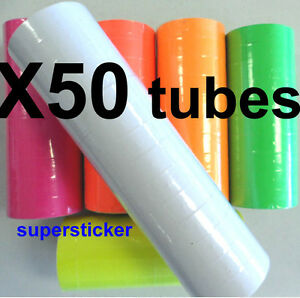 White Price Tags For Mx 6600 2 Lines Gun 50 Tubes X 14 Rolls X 500