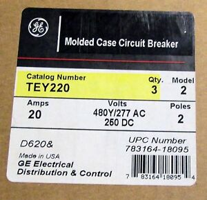 X Ge General Electric 20 Amp Circuit Breaker Tey220 New No Box
