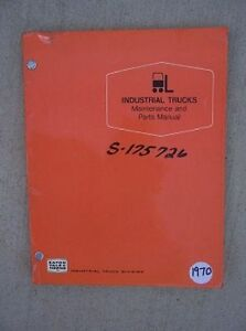 1970 Yale Industrial Electric Fork Lift Truck Maintenance Parts Manual Wp 4 L