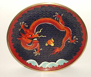 Chinese Bronze Cloisonne Blue Enamel Fire Breathing Dragon Plate Tray