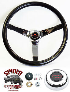 1948 1959 Chevy Pickup Steering Wheel Red Bowtie 14 3 4 Vintage Chrome Grant
