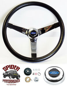 1970 1977 Ford Pickup Steering Wheel Blue Oval 14 3 4 Vintage Chrome