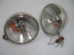 1933 1934 Ford Car Polished Stainless Headlights W Turn Signal 9 1 2 Street Rod