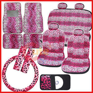 Pink Leopard Safari Animal Car Seat Covers Accessories Complete Set Full 14pc