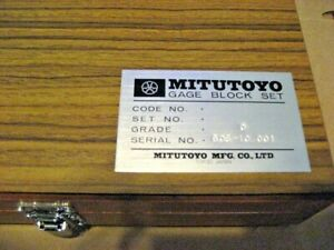 Mitutoyo 485608s 9pc Gage Block Set aa8309 1