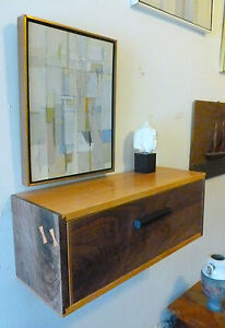 Mid Century Modern Style Floating Nightstand Wall Shelf Walnut Cherry Art Deco