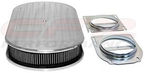 Chevy Ford Mopar 19 Oval Polished Aluminum Dual Quad Air Cleaner Ball Milled