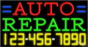 New auto Repair W your Phone Number 37x20 Neon Sign W custom Options 15042