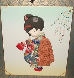 Japanese Pink Flower Tapestry Geisha Girl Original Watercolor Painting Unsigned