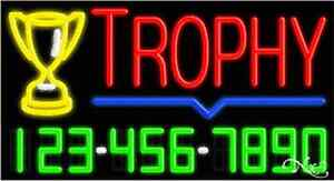 New trophy W your Phone Number 37x20 Real Neon Sign W custom Options 15113