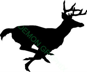 Running Buck Vinyl Decal sticker Whitetail Deer Hunting Archery Antlers