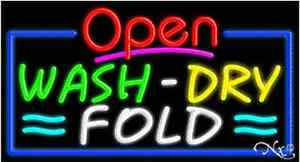 New open Wash Dry Fold 37x20 Real Neon Sign W custom Options 15595