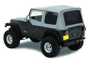 1987 1995 Jeep Wrangler Complete Soft Top Kit Upper Doors Tinted Windows Gray