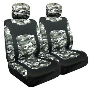 Snow Camo More Low Back Bucket Seat Covers Pair