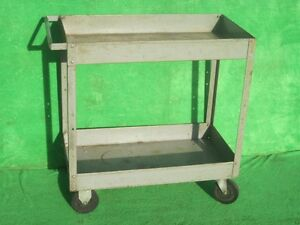 Shop Utility Service Push Rolling Wheel Steel Hand Tool Cart 30 X 16 2 Tray
