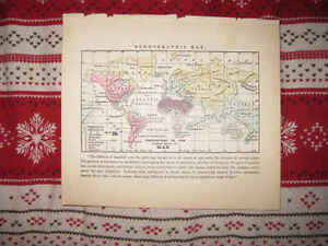 Superb Antique 1857 World Ethnographic Race Racial Morse Map North America Asia