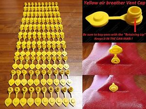 100 Yellow Vent Caps Gas Fuel Can Midwest Blitz Wedco Briggs Scepter Heavy Duty