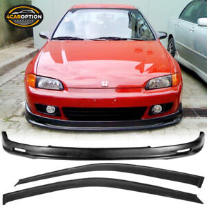 Fits 92 95 Honda Civic Eg 2 3dr Front Bumper Lip Spoiler Pp Sun Window Visor