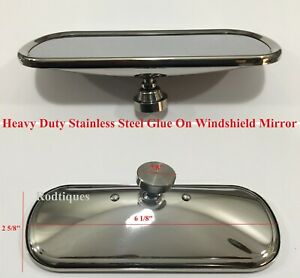 Rectangle Glue On Rearview Mirror Hot Rod Rat Rod Streetrod Rear View Square
