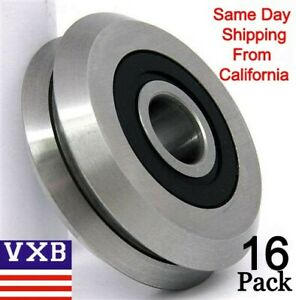 Lot Of 16 Rm2 2rs Id 3 8 Inch V Groove Cnc Guide Way Rubber Sealed Ball Bearing