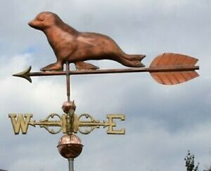 Large Copper Seal Weathervane W Arrow Scrolled Directionals 178