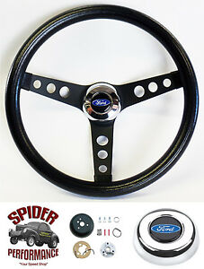 1963 1964 Fairlane Galaxie Steering Wheel Blue Oval 13 1 2 Classic Black