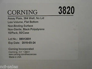 Corning 3820 Assay Plate 384 Well Black Polystyrene Nonsterile Low Volume 10 pk