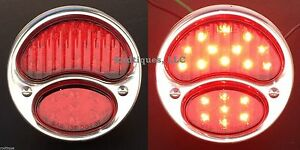 Led Stainless Steel Taillights Universal Hot Rod Streetrod Ratrod Custom A Red