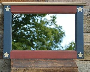 Primitive Handcrafted Mirror Americana Red White Blue Country Bath Style Hz