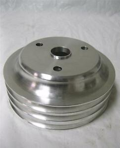 Sb Chevy Lwp Aluminum 3 Groove Crankshaft Pulley Long Water Pump Sbc 350 Crank