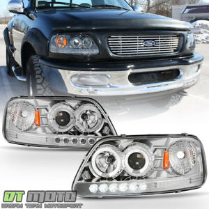 1997 2003 Ford F150 Expedition Led Halo Projector Headlights Lighs Left right