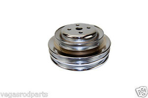 Water Pump Pulley V belt 3 groove Steel Chrome Ford 289 302 1964 1973 Smog