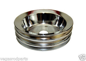 Chrome Steel Crank Pulley S b Chevy Short Triple Groove 3 Chevrolet 327 350 400