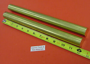 2 Pieces 1 C360 Brass Round Rod 12 Long Solid Lathe Bar Stock 1 00 1 2 Hard
