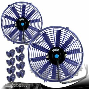 2x Universal Blue 14 1500 Cfm 2250 Rpm Electric Cooling Pull Slim Radiator Fan