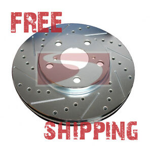 Front Rear Set Performance Cross Drilled Slotted Brake Disc Rotors Tbs13212