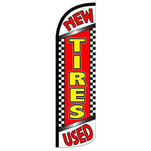New Used Tires Flag Kit 3 Wide Windless Swooper Feather Advertising Sign