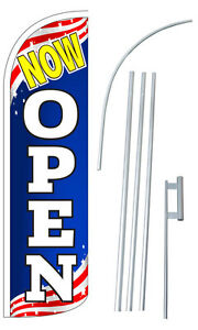 Now Open Flag Kit 3 Wide Windless Swooper Feather Advertising Sign
