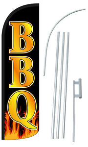 Bbq Flag Kit 3 Wide Windless Swooper Feather Advertising Sign