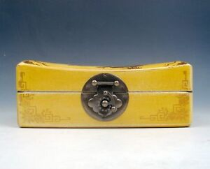 Yellow Finish Leather Butterfly Flower Bamboo Wooden Jewelry Box Brass Lock J1