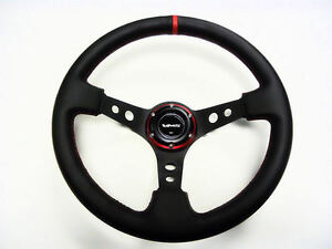 350mm Vms Racing Deep Dish Steering Wheel Black Leather Red Stitching 6 Bolt