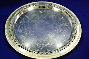 Vtg W M Rogers Silver Plated Serving Tray Detailed Etchings Hallmarked 172 15