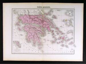 1877 Migeon Map Greece Athens Cyclades Paros Aegean Sea