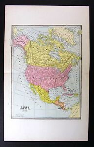 1883 Cram Map North America United States Canada Mexico